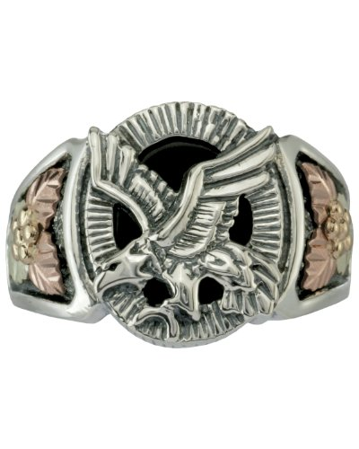 Onyx Eagle Antiqued Ring, Sterling Silver, 12k Green and Rose Gold Black Hills Motif, Size 9