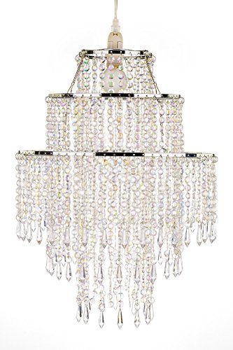 Waneway Large 3 Tiers Beads Pendant Shade Ceiling Chandelier Lampshade With Acrylic Jewel
