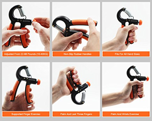 Kootek 2 Pack Hand Grip Strengthener Strength Trainer Adjustable Resistance 22-88 Lbs Arm Hand Exerciser Non-slip Gripper for Athletes Pianists Kids