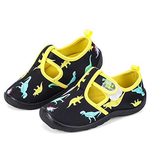 nerteo Boys Cute Aqua Water Shoes Walking Sneakers Sandals for Beach/Camp/Pool Swim Black/Dinasaur US 1 Little Kid