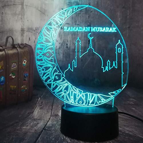 New Ramadan Mubarak Islam Blessing Best Wishes Greetings 3D Night Light Blessing Best Wishes Islam Greetings LED Sleeping Lamp Home Decor Birthday Christmas Gift(Ramadan Mubarak)]()