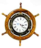 Brass Nautical Full Porthole Tim'es Clock Ship Wheel | Pirate's Maritime Vintage Gift | Nagina International (18 Inches)