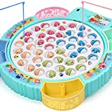 Fishing Game Toy Pole and Rod Fish Board Rotating with Music Fine Motor Skill Training Gift for Children Kids