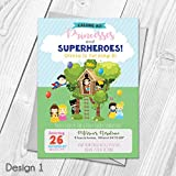 Personalised Princess and Superhero Treehouse Birthday Party Invitations & Thank You Cards