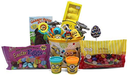 Minions Easter Basket | Great for Little Boys and Girls | Pre Filled with Stuffers, Chocolate, Candy, Treats and Toys | Perfect for Kids of Most Ages