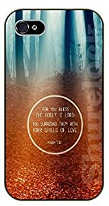 iPhone 4 / 4s Bible Verse - For you bless the godly, o Lord. Forest - black plastic case / Verses, Inspirational and Motivational