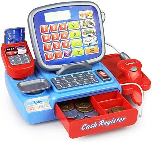 Juguete caja registradora electrónica para bebés, juegos simulación, juguetes educativos, supermercado, cajero, juguete, escáner, calculadora, lector tarjetas crédito, frutas y verduras, luces y so: Amazon.es: Hogar