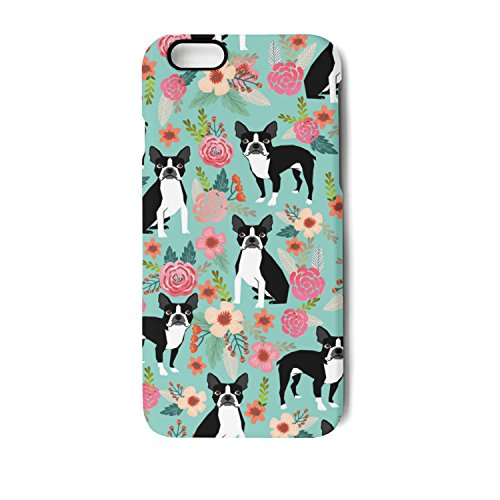 Boston Terrier Plates (Boston Terrier Sweet Vintage Florals IPhone 6/6s/6plus/6s Plus/7/7 Plus/8/8 Plus Case Plate And Soft TPU Heavy Duty Protection Phone Back Case Cover)