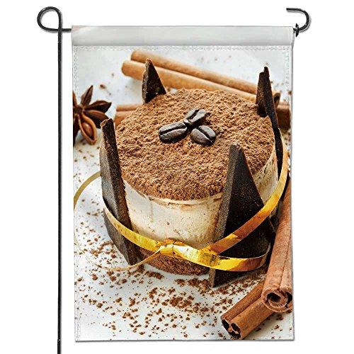 AmaPark Personalized Garden Flag plate with delicious tiramisu dessert shallow dof New Home Gift Wedding/Double-sided 12