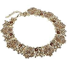 Jerollin Fashion Black Crystal Chain Women Jewelry Bling Choker Cluster Statement Collar Necklace