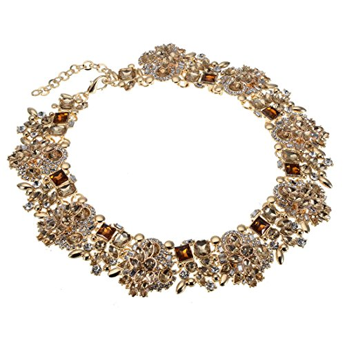 Crystal Vintage Necklace - Jerollin Vintage Gold Tone Chain Multi-Color Glass Crystal Collar Choker Statement Bib Necklace