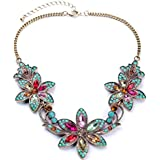 style 5 colours - Women Fashion Pendant Crystal Flower Choker Chunky Statement Chain Bib Necklace