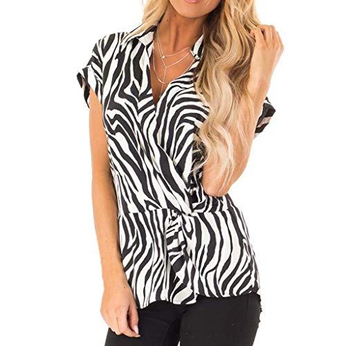 Tops for Women Fashion Zebra Stripe Print Short Sleeve T-Shirt Casual Front Irregual Blouse (L, Black)