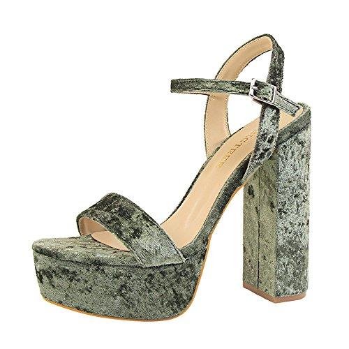 z&dw Elegante talón sexy super alta impermeable tabla de terciopelo con sandalias Verde