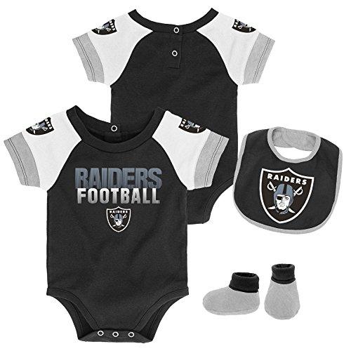 Outerstuff NFL NFL Oakland Raiders Newborn & Infant 50 Yard Dash Bodysuit, Bib & Bootie Set Black, 24 Months (Body Dash Black)