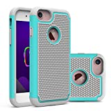iPhone 7 Case, KAMII [Shock Absorption] [Anti-Slip] Dual Layer Rugged Hard Hybrid Shockproof Defender Armor Protective Case Cover for iPhone 7(2016) (Grey Aqua)
