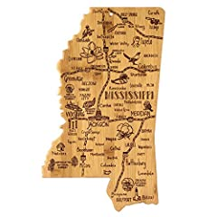 Celebrate life in The Magnolia State with the Totally Bamboo Mississippi State Destination Bamboo Serving and Cutting Board. This beautifully crafted board is shaped in the outline of the great state of Mississippi and features fun, laser-eng...