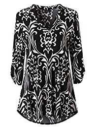 Zattcas Womens Floral Printed Tunic Shirts 3/4 Roll Sleeve Notch Neck Tunic Top (Medium, Black White)