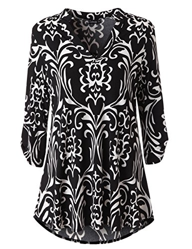 Zattcas Womens Floral Printed Tunic Shirts 3/4 Roll Sleeve Notch Neck Tunic Top (Large, Black White)