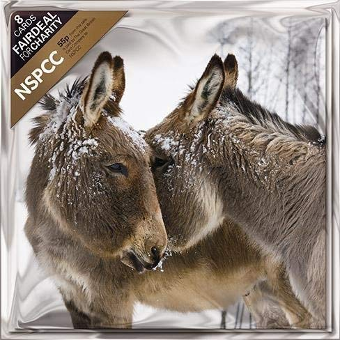 Pack of 8 Donkeys In The Snow NSPCC Fairdeal Charity Christmas Cards The Great British Card Company