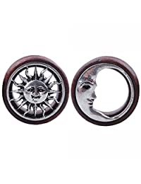 Oasis Plus Tribal Sun & Moon Organic Wood Flesh Tunnels Double Flared Ear Stretcher Saddle Plugs 8mm - 20mm
