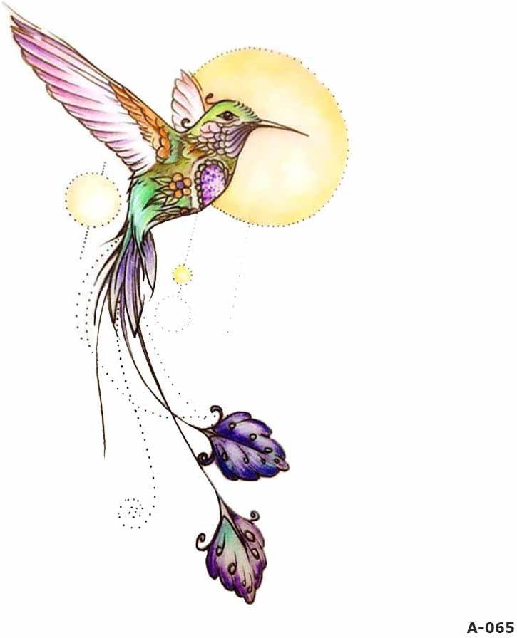 WYUEN 5 hojas de acuarela pájaros colibrí falso tatuaje ...