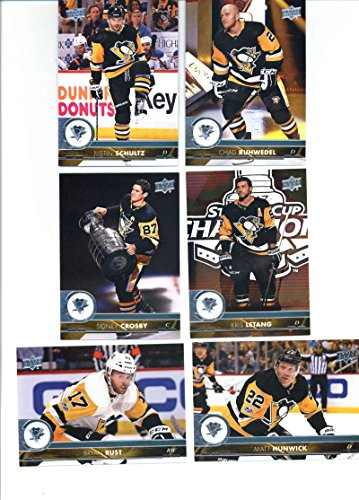 2017-18 Upper Deck Series 2 Pittsburgh Penguins Team Set of 6 Cards: Sidney Crosby(#391), Matt Hunwick(#392), Kris Letang(#393), Chad Ruhwedel(#394), Bryan Rust(#395), Justin Schultz(#396)