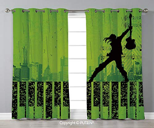 Grommet Blackout Window Curtains Drapes [ Popstar Party,Music in the City Theme Singer with Electric Guitar on Grunge Backdrop,Lime Green Black ] for Living Room Bedroom Dorm Room Classroom Kitchen Ca -