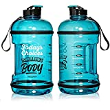 H2OCOACH Half Gallon Sports Water Bottle with Time Marker   Motivational 2.5
