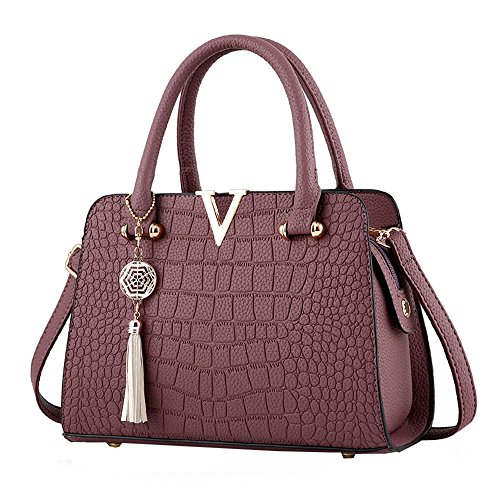 Fashion Women Bag! ZOMUSAR Women's Fashion PU Leather Shoulder Bag Alligator Pattern Ladies Crossbody Handbag (Purple)