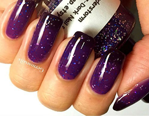 Color Changing Nail Polish - Gift for Woman - Purple to Black - ''Thunderstorm'' - Thermal - Holographic - Full Size Bottle - FREE SHIPPING
