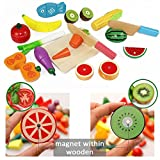Cutting & Cooking Set, Wooden Kitchen Kids Toy, Educational Toy, Pretend Play 26pcs Set With Knife, Magnetic Fruit, Vegetable, Fish, Meat and Cutting Board - iPlay, iLearn