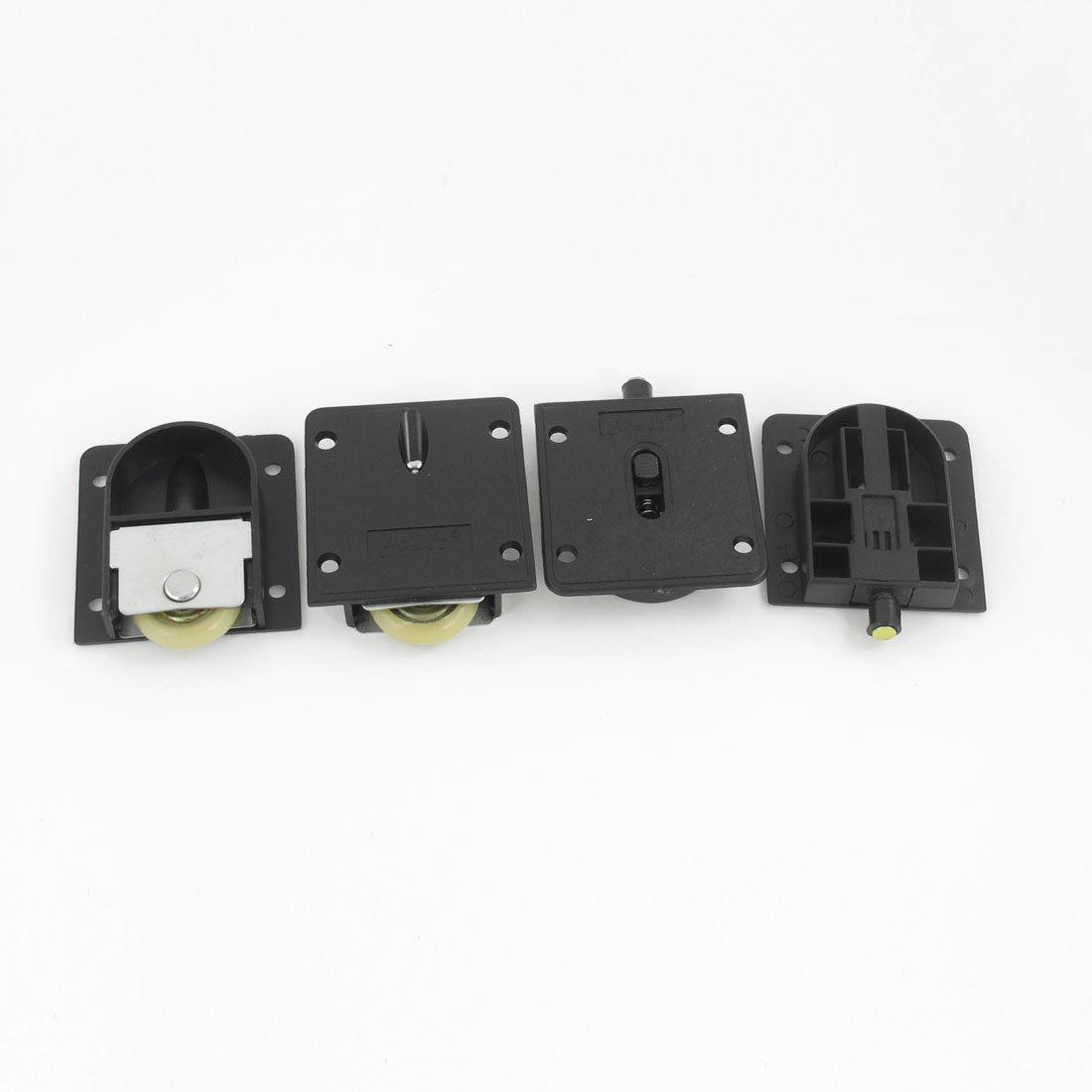 2 Ensemble armoire composants en plastique Noir plate 25 mm Dia Roue Porte coulissante Rouleau Sourcingmap a13070800ux0466