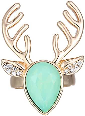 eManco Crystal Copper Deer Animal Cuff Open Statement Rings for Women Green
