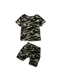 WOCACHI Toddler Baby Boys Girls Clothes, Camouflage T Shirt Tops+Shorts Outfits Clothes Set