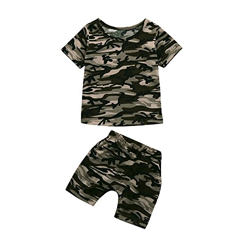 Little Kids Baby Boys Casual Short Sleeve Camouflage Print T Shirt Tops & Shorts Outfits Clothes Set (4T, Camouflage)
