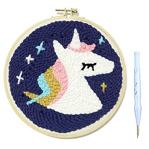Wool Queen Unicorn Punch Needle Starter Kit | Animal Rug-Punch Beginner Kit, with an Adjustable Embroidery Pen and 7.9'' Bamboo Hoop