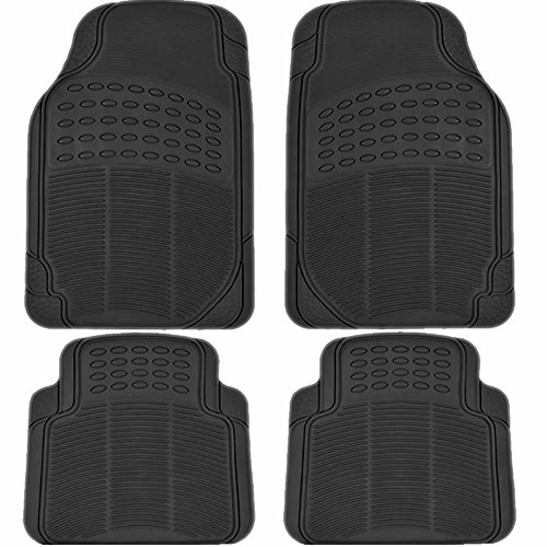 UAA MT-9001BK Black All Weather Trimmable Rubber Floor Mat Set - 4 Piece