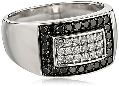 Men's Sterling Silver Black and White Diamond Ring (.95 cttw, H-I Color, I2-I3 Clarity), Size 11