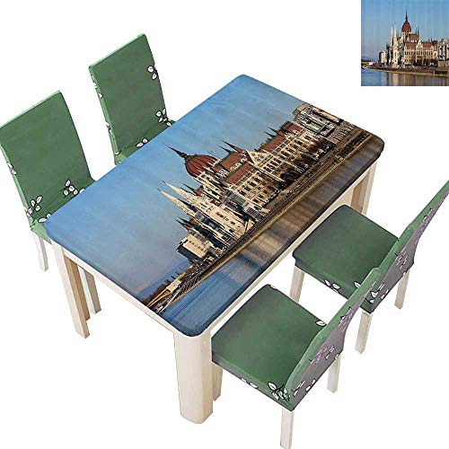 - Printsonne Spillproof Fabric Tablecloth Parliament Budapest Hungary ic Skyline Reflecti Calm Water Surface Horiztal Kitchen Washable 54 x 120 Inch