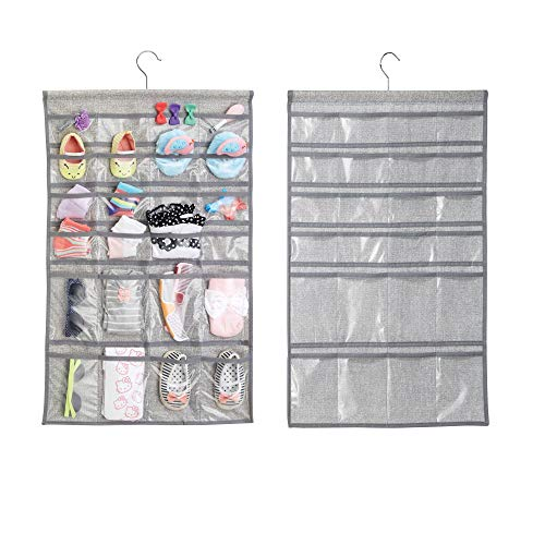 mDesign Hanging Fabric Baby Nursery Closet Organizer for Hats, Bows, Shoes, Socks, Accessories - Pack of 2, 48 Pockets Each, Gray