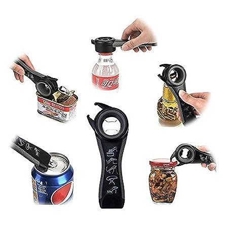 botellas y vasos negro latas Abridor de tapas 5 en 1 f/ácil para botes