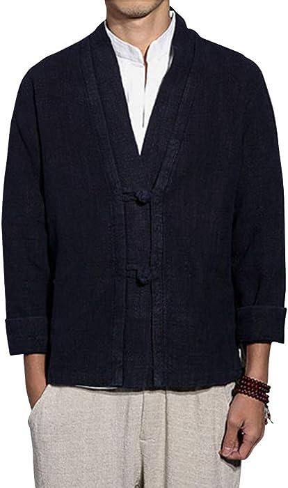 Kimono Abrigos Chaqueta De Manga Larga para Hombres Armada S ...