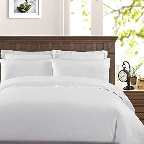 (Peru Pima - 415 Thread Count - Percale - 100% Peruvian Pima Cotton - Duvet Cover Set - King/Cal King, White)