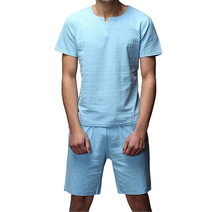 YOYOGO Ropa Hombre Oferta Verano Pantalones Vaqueros Camisa De Manga Corta Delgada De Dos Piezas para