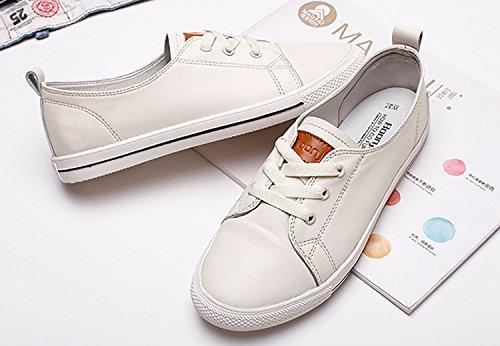 Odema Mujeres Leather Oxfords Lace Up Zapatos Flat Lowtop Hightop Zapatillas De Moda Simple Casual Preppy Style Zapatos Gris
