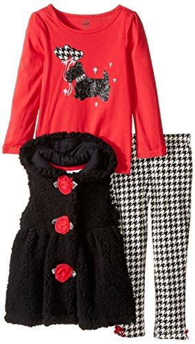 Kids Headquarters Little Girls' Toddler 3 Piece Sherpa Hooded Vest Pants Set - Dog, Black, 4T