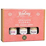 Woolzies Essential oil gift set of 3 essential oils (Floral set Lavender, Rose, Jasmine)
