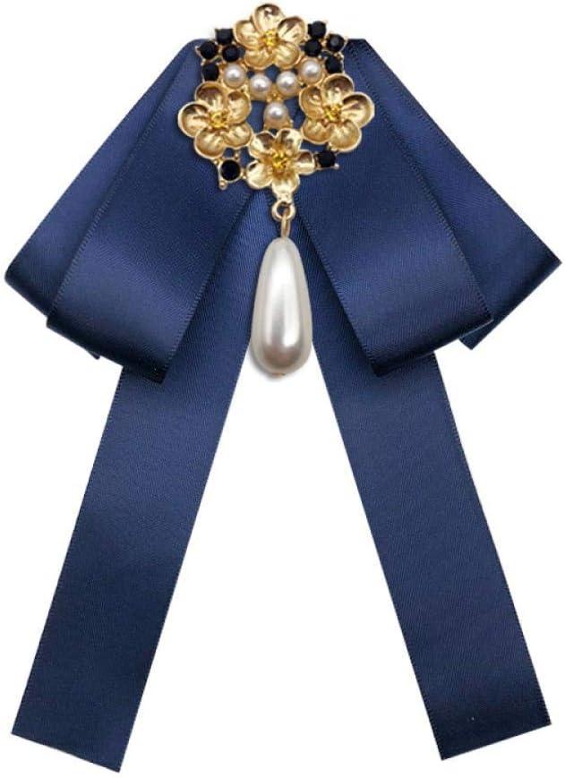 ZWLZQ Broches broche Elegante De Las Mujeres De Moda De Tela con Perlas Tachonado Boutonniere Pajarita Collar Flor Accesorios De Joyería