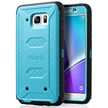ULAK [KNOX ARMOR] Rugged Dual Layer Hybrid Protective Case Front Cover Without Built in Screen Protector Holster for Samsung Galaxy Note 5 - Retail Packaging - Blue
